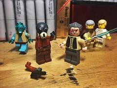 """He doesn't like you."" (LordAllo) Tags: lego star wars a new hope ponda baba doctor evazan greedo obiwan ben kenobi luke skywalker mos eisley cantina"