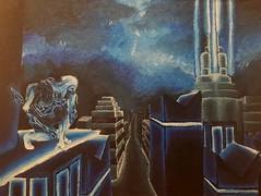 I NOW DESPISE BLUE (Purpleninja027) Tags: future cyborg city blue lotablue acrylic painting