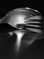 Fork and spoon, Glaze (AlfredSin) Tags: alfredsin hmm glaze canoneos760d canonef100mmf28lmacro fork spoon blackandwhite macromondays