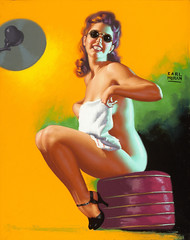 Is My Face Red? by Earl Moran (Tom Simpson) Tags: ismyfacered earlmoran pinup pinupart nude woman sunglasses girl tanning sunlight vintage heels illustration painting art
