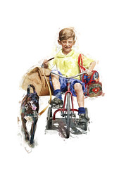 Picnic With My Best Friend .... (57 Corvette ~ Bob) Tags: normanrockwell kids dogs picnic bikes