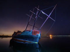 Ghost Ship (Tracy Munson Photography) Tags: ghostship grandehermine jordan jordanstation jordanshipwreck laowa15mm niagararegion ontario qew astrophotography boat derelict landmark landscape lightpainting nightphotography nightsky nightscape pirateship rusted shipwreck stars