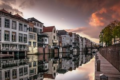 This evening in my hometown (marielledevalk) Tags: europe canal dutch holland reflection houses house river water sky evening sunset cloud gorinchem hometown city