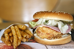 Chicken Fillet Burger (Johnnie Shene Photography(Thanks, 2Million+ Views)) Tags: hamcheesefilletburger ham cheese fillet burger hamburger frontview sideview food foods meal meals meat bread potato fried photography horizontal indoor colourimage fragility freshness nopeople foregroundfocus adjustment fulllength delicious palatable chicken chickenburger famousfood manmade restaurant korea korean lunch dinner interesting awe wonder canon eos600d rebelt3i kissx5 sigma 1770mm f284 dc macro lens 햄치즈휠렛버거 휠렛버거 버거 치킨버거 맘스터치