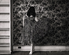 Patterns in the Sound (sadandbeautiful (Sarah)) Tags: me woman female self selfportrait abandoned bw dress wallpaper house