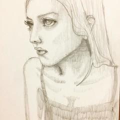 菜々緒をモデルに。 うーんカタイ…  #girl #イラストレーション #illustration #小牧真子 #comakimaco #菜々緒