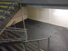 Car park stairs (doojohn701) Tags: stark metal concrete stairs staircase bexleyheath damp yellow blurred