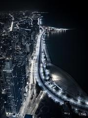 Night (lhongfoto) Tags: chicago illinois lakeshore drive michigan lake john hancock buildings express lights highway cityscape urban cold tone