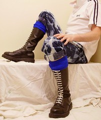 Boots Hot bleachers blue (collaredinboots1) Tags: boots booted rangerboots laces whitelaces socks bleachers skinhead