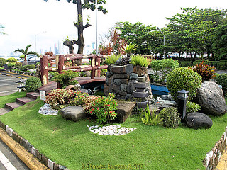 Landscaped gardens near Gloria Maris Sharks Fin Restaurant in 2012, CCP complex, Roxas Boulevard, Pasay, 1300 Metro Manila, Philippines.