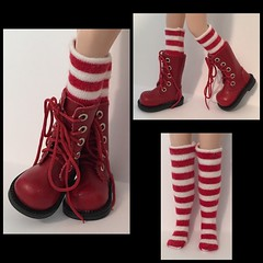 Tall Red and White Striped Socks for Blythe...