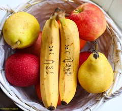 Eat Him! Day 99 of 365 Project -  Yellow Explored #386 (twinnieE) Tags: funny truecolours2017 fruitbowl banana fruit yellow