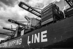 containership (öppel) Tags: containership container ship hamburg haven harbour port pier elbe water north sea alster germany boat china shipping line black white grey monochrome mono photography nikon d7100 sigma 1770mm contemporary light clouds sky