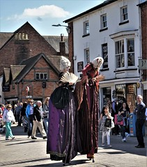 William Shakespeare's Birthday celebrations 112/365 (Explored) (radleyfreak (offline for a while)) Tags: historic stratforduponavon shakespeare birthday explored stilts dressedup street warwickshire celebration fun wigs fans ladies dresses silk satin lace event walking buildings