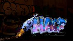 HACF Rocket Man (JONES4130) Tags: zweibrüderlichterkettechainlighthansaring graffiti night lights with small led lenser chain rocket man hacf cologne köln setop nacht lichter taschenlampe