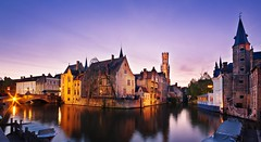 Bruges at Dusk (Barry O Carroll Photography) Tags: canal water reflection belfry beffroi belltower buildings flemish boats bruges brugge belgium belgique dusk evening twilight wideangle panorama city cityscape urbanlandscape travel