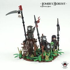 Lord Of The Rings: Eomer's Hideout -  by Barthezz Brick 13 (Barthezz Brick) Tags: lego castle fantasy lordoftherings medieval moc afol legos barthezz brick barthezzbrick orc urukhai lotr custom spear shield sword flag