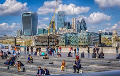 Lunchtime (Gordon McCallum) Tags: londoncityhall queenswalk riverthames thegherkin walkietalkietower london londonengland lunchtime people sitting sunshine clouds bluesky sony sonya6000 sony55210lens