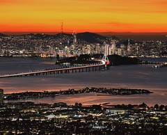 Ever-changing Light of the Bay (RZ68) Tags: grizzly peak long lens telephoto san francisco city skyline emeryville east bay hills berkeley water sunset light color clouds night evening golden bridge trails rz67 velvia provia e100 blurry asphalt surface dark want better reflections