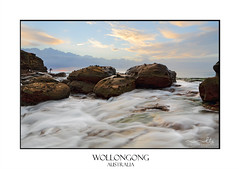 Strong foreground rock flows at Wollongong (sugarbellaleah) Tags: rock flows fisherman water rapids ocean current tide seascape landscape wollongong australia clouds weather morning coast coastal scenic travel outdoors leisure recreation texture erosion flowing motion movement