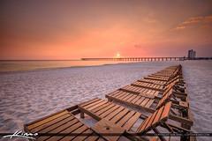 Sunset Over Russell-Fields Pier at Pier Park Panama City Beach Florida (Captain Kimo) Tags: beachchairs captainkimo emeraldcoast florida hdrphotography panamacitybeach panhandle pierpark russellfieldspier sterlingresorts sunset