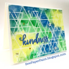 SSS Abstract Triangles Blue Card Side (teamclark@rocketmail.com) Tags: simon says stamp abstract triangles watercolor embossing verve sequins card cardmaking thank you sssflickrchallenge69