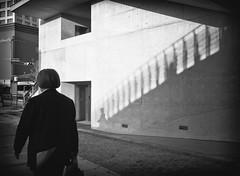 The most wonderful moment (tomorca) Tags: man wind shadow stair street monochrome fujifilm xt2