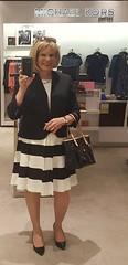 Black and White Stripes (krislagreen) Tags: tg tgirl transgender transvestite cd crossdress xdress dress hose heels highheels patent jacket black white blond femme feminize feminization