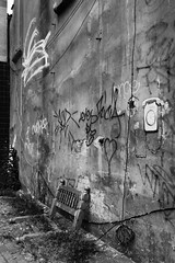 IMG_2247 (Kathi Huidobro) Tags: texture derelict urbanscene discarded bw monochrome graffiti bedstead foresthill london londonstreets blackwhite southlondon streetfinds garbage litter urbandecay fauxbanksy telephone
