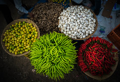 veg colors (tesbin) Tags: vegetables colors market india garlic green chilly red ginger lemon nikon kit lens d5300