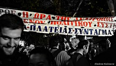 (Eleanna Kounoupa (Melissa)) Tags: street blackandwhite flag athens greece races demonstrations protests ert   blackwhitephotos
