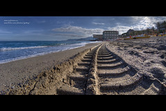 Pietra Ligure, the beach. (Gottry) Tags: sea sky italy panorama cloud holiday beach sport landscape sand italia mare nuvola outdoor mark liguria cielo spiaggia vacanza sabbia ligure traccia pietraligure emanuelerinaldi wwwerphotoseugottry