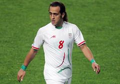 Ali karimi of Iran wears symbolic green wrist bands before the 2010 FIFA World Cup Asian Qualifiers match between Iran and South Korea at Seoul World Cup Stadium (MEVA_SLS) Tags: green football asia iran ali 2009 karimi