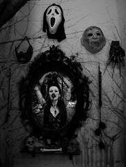 Mirror (Sabry Ardore) Tags: woman white cinema black tree art girl lady digital forest photoshop movie skull mirror mask vampire room gothic weapon scream horror bone editing nightmare bianco nero edit cannibal stanza blook
