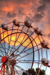 Ferris Wheel Sunset (Eddie Yerkish) Tags: california pink blue sunset red orange sun wheel clouds fun fairgrounds losangeles nikon ride ferris pomona lacountyfair fairplex d7000 skycarnival