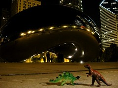 . (Kate Hedin) Tags: park chicago fountain skyline museum night lights illinois bean millennium nighttime pavilion