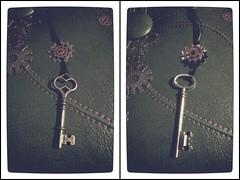 131106 A pair of large silver key with brass & silver gears ribbon necklaces (Gemma Geluz - http://gemmageluz.etsy.com) Tags: keys key ribbon gears vignette ribbonnecklace brassgear largekey picsart gemmageluzdesigns flickrandroidapp:filter=none galaxys3 silvergear