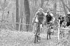 Jingle Cross - Through the Woods (dlholt) Tags: sports cycling blackwhite cyclist dof bokeh iowa depthoffield cycle ia bikerace iowacity cannondale bikeracing cyclocross specialized sram johnsoncountyfairground