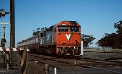 N454 (michaelgreenhill) Tags: 35mm slide victoria scanned littleriver vline scannedslides n454 rpauvicnclass railpage:class=48 railpage:loco=n454 rpauvicnclassn454 railpage:livery=5
