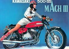1970 KAWASAKI MACH III 500-SS (Rickster G) Tags: two classic vintage ads 1974 1971 flyer stroke literature 350 400 1975 70s z 1970 kh s1 500 h1 h2 sales 1972 brochure triple spec 1973 1976 250 kawasaki dealer 750 zi stroker z900 twinshock vjm