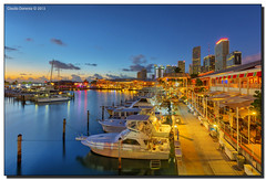 Bayside Marketplace at Dawn (Fraggle Red) Tags: morning reflections dawn downtown florida miami bluehour fishingboats hdr baysidemarketplace 7exp canonef1635mmf28liiusm miamidadeco dphdr