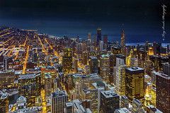 Chicago Golden Veins (yeahbouyee) Tags: city nightphotography urban chicago skyline night illinois cityscape nightlights dusk dri skyscaper blending canonef1635mmf28liiusm hdratnight thechallengefactory willistower canoneos5dmarkiii