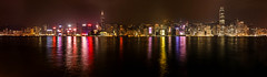 Victoria Harbour (Pheexies) Tags: ocean panorama reflection building water night canon landscape harbor cityscape harbour central scene victoria hong kong scenary kowloon ifc stitched hongkongisland chinacity 650d tsuishatsui