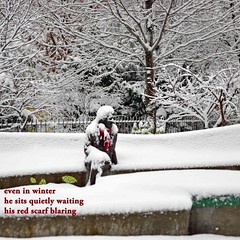 Snowy Sculpture Haiku (Don Iannone) Tags: winter snow haiku imagepoetry sculptureuniversitycirclecleveland