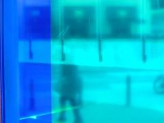 #blue/green (Scopello4) Tags: street city blue shadow brussels urban abstract green window lines silhouette reflections figure reflets silhoutte canonixus bikewheel