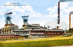 Recklinghausen Zeche 1925 (zimmermann8821) Tags: deutschesreich druck fotografie fotografiekoloriert gebäude postkarte sommer technik weimarerrepublik bergbau hütte schacht förderturm schlot zeche ruhrgebiet schwerindustrie