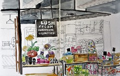 Lush Cosmetics (softfurn Susan) Tags: lushcosmetics columbuscircle turnstyle nyc gotham nycurbansketchers ink drawing sketch