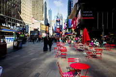 Red Seating (k4eyv) Tags: timessquare newyorkcity newyork leica leicaq red seats