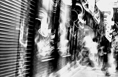 Chinatown (draketoulouse) Tags: chicago chinatown blackandwhite monochrome blur abstract lights noise street streetphotography city urban people