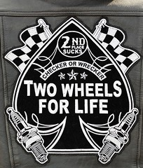 2017 Defrost Your Nuts Motorcycle Ride. Two Wheels For Life 5667 (rabidscottsman) Tags: scotthendersonphotography defrostyournuts leather leatherjacket sparkplugs flag patch checkered checkeredflag aceofspades wisconsin hudsonwisconsin northhudsonwisconsin motorcycleride motorcyclerally event saturday weekend nikon nikond7100 d7100 nikkor nikkor70200f28vrii checkerorwrecker socialmedia usa unitedstatesofamerica day98